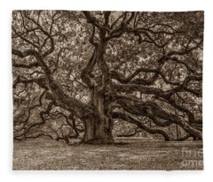 Sepia Angel Oak Fleece Blanket