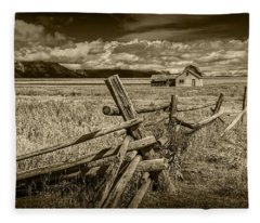 Sepia Colored Photo Of A Wood Fence By The John Moulton Farm Fleece Blanket