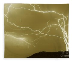 Sepia Converging Lightning Fleece Blanket