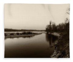 Sepia River Fleece Blanket