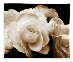 Sepia Roses With Rain Drops Fleece Blanket