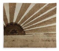 Sepia Sunset Original Painting Fleece Blanket