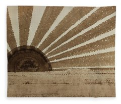 Sepia Sunset Original Painting Fleece Blanket