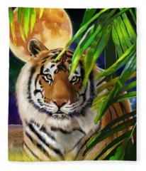 Second In The Big Cat Series - Tiger Fleece Blanket
