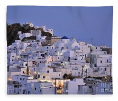 Serifos Town During Dusk Time Fleece Blanket