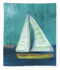 Set Free- Sailboat Painting Fleece Blanket
