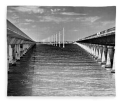 seven mile bridge BW Fleece Blanket
