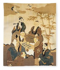 Seven Wise Men In The Bamboo Forest Painted Silk Fleece Blanket