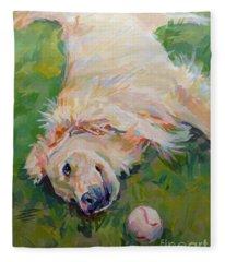 Golden Retrievers Paintings Fleece Blankets