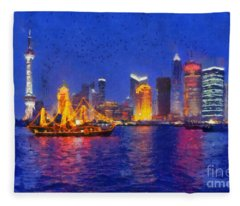 Shanghai During Dusk Time Fleece Blanket