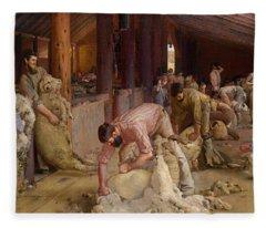 Shearing The Rams  Fleece Blanket