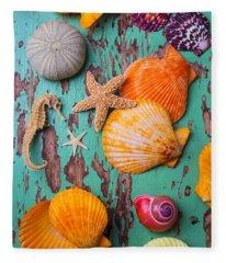 Shells On Old Green Board Fleece Blanket
