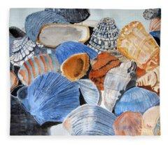 Shells On The Beach Fleece Blanket