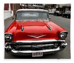 Shiny Red Chevrolet Fleece Blanket