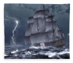 Ship In A Storm Fleece Blanket