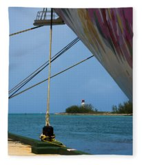 Ship's Ropes And Lighthouse Fleece Blanket