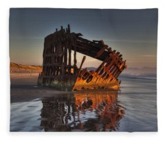 Shipwreck At Sunset Fleece Blanket
