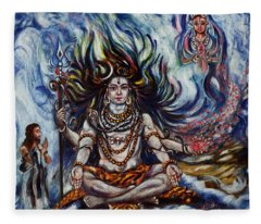 Shiva - Ganga - Harsh Malik Fleece Blanket