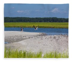 Shorebirds And Marsh Grass Fleece Blanket