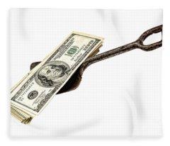Shovel Of Dollar Fleece Blanket