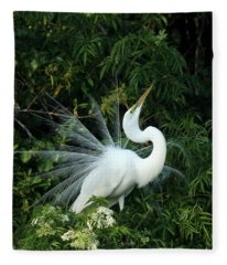 Showy Great White Egret Fleece Blanket