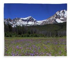 Showy Penstemon Wildflowers Sawtooth Mountains Fleece Blanket