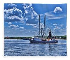 Shrimp Boat Heading To Sea Fleece Blanket