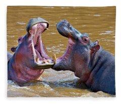 Side Profile Of Two Hippopotamus Fleece Blanket