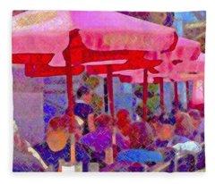 Sidewalk Cafe Digital Painting Fleece Blanket