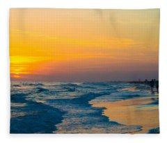 Siesta Key Sunset Walk Fleece Blanket