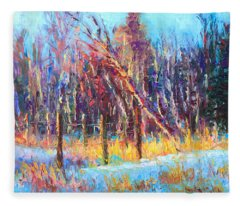 Signs Of Spring - Trees And Snow Kissed By Spring Light Fleece Blanket