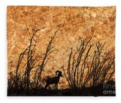 Silhouette Bighorn Sheep Fleece Blanket