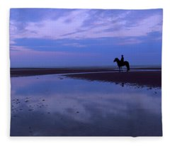 Silhouette Of A Horse With Rider Fleece Blanket