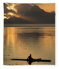 Silhouette Of A Person Canoeing Fleece Blanket