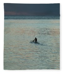 Silhouette Of A Person Driving Jet Ski Fleece Blanket