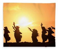 Silhouette Of Hula Dancers At Sunrise Fleece Blanket