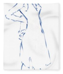 Silhouetted Woman Standing Fleece Blanket