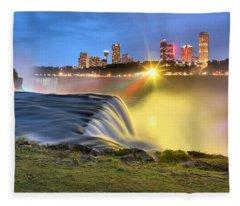 Silky Niagara Falls Panoramic Sunset Fleece Blanket