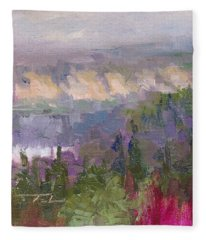 Silver And Gold - Matanuska Canyon Cliffs River Fireweed Fleece Blanket
