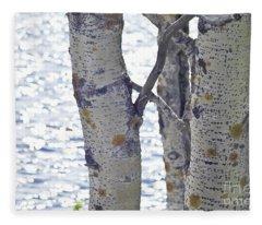 Silver Birch Trees At A Sunny Lake Fleece Blanket