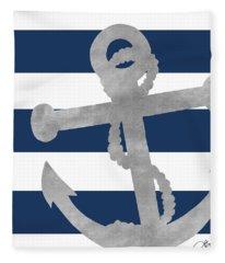 Silver Coastal On Blue Stripe I Fleece Blanket