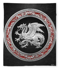 Silver Icelandic Dragon  Fleece Blanket