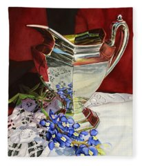 Silver Pitcher And Bluebonnet Fleece Blanket