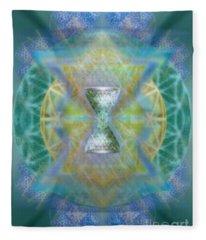 Silver Torquoise Chalicell Ring Flower Of Life Matrix II Fleece Blanket