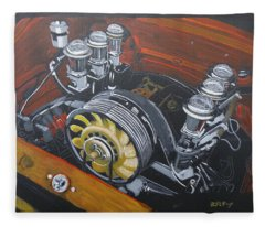 Singer Porsche Engine Fleece Blanket