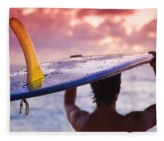 Single Fin Surfer Fleece Blanket