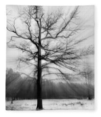 Single Leafless Tree In Winter Forest Fleece Blanket