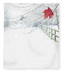 Single Red Leaf Fleece Blanket