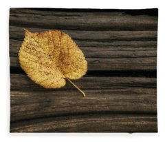 Single Yellow Birch Leaf Fleece Blanket