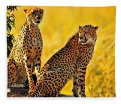 Sister Cheetahs Fleece Blanket
